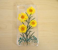 DIY Real Flower Daisy iphone 5 case,Iphone 5s case Cover,Iphone 4 4s Case iphone 5c case,Dried Pressed Flower Rainbow butterfly iphone 4s