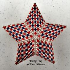 Make you own beautiful Red White & Blue Patriotic Star Beading technique: Peyote Stitch Project level: Intermediate/advanced. You should be familiar with Peyote stitch. Beading Tutorial for Patriotic Houndstooth Star is very detailed, easy to follow, step by step with clear