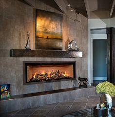 Mendota Linear - Granville Stone & Hearth A fireplace can be a structure made from brick, stone Tv Above Fireplace, Linear Fireplace, Wooden Fireplace, Fireplace Hearth, Home Fireplace, Fireplace Remodel, Living Room With Fireplace, Fireplace Surrounds, Arquitetura