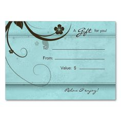 Salon Gift Card Spa Flower watery blue Large Business Cards (Pack Of 100). Make your own business card with this great design. All you need is to add your info to this template. Click the image to try it out!