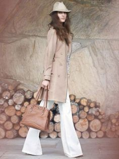 Cute Trench Coat & White Pant combo for Spring!