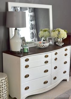 Painted Dresser and Mirror makeover with @behrpaint  (Master Bedroom furniture)
