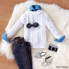 WEBSTA @ barbiestyle - Style tip: break up denim-on-denim with a classic knit!  #barbie #barbiestyle
