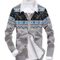 Sale 19% (16.99$) - Chrismas Men\'s Slim V-neck Printed Sweater Knitwear Cardigan Jacket