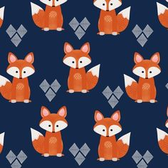 Watercolor Foxes in Navy fabric - natitys - Spoonflower