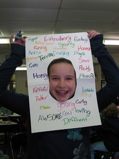 students must find 20 adjectives that describe themselves