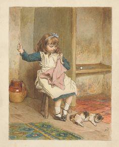 Print made by Robert Barnes, 1840-1895, Girl Sewing,