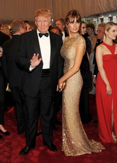 Melania Trump Evening Dress - Melania was a beauty at the Met Gala in a sparkling gold evening gown.