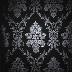 Silver on Black Damask Wallpaper Roll Top Quality Wall Paper ...