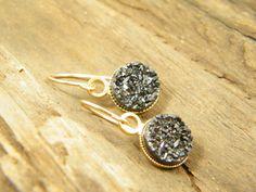 Black druzy quartz gold filled dangle earrings by sherijewelry, $54.00