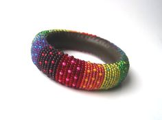 Multicolor Summer Rainbow Spotted Bangle  Beaded Roll by MaGabi, Ft7900.00