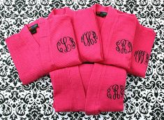 SET OF 5  Monogrammed  Robes  Waffle Weave Robe  by MisterandMrs, $174.75