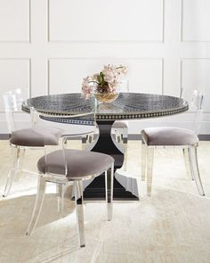 Vivian Inlay Dining Table & Nessy Acrylic Dining Chair by Bernhardt at Horchow.