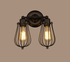 CLAXY® Ecopower Vintage Style 2-lights Industrial Black Mini Wire Cage Wall Sconce (Black) - - Amazon.com