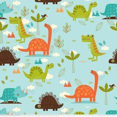 Designerstoffe USA - ♥ DINOSAUR - Dinosaurier Main BLAU - Riley Blake ♥ - ein Designerstück von felinchens bei DaWanda