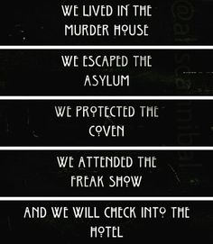 American Horror Story: Murder House, Asylum, Coven, Freak Show, Hotel Lauren Ashley Bivens American Horror Story Quotes, American Horror Show, American Horror Story Asylum, Ahs, Tate And Violet, Best Television Series, Tv Quotes, True Feelings, Coven