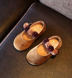 Toddler & Little Girl Shoes-Super Soft & Comfortable Flat Shoes! Brown Flower Girl Shoes Material: Suede, bonded leather, cotton & rubber Perfect for weddings, birthday, communion, baptism, christmas or baby shower gift