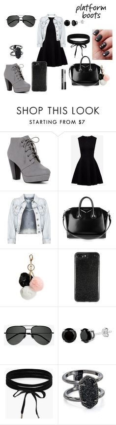 """""""#platformboots"""" by zaria-costley ❤ liked on Polyvore featuring Ted Baker, Givenchy, GUESS, Yves Saint Laurent, Boohoo, Kendra Scott and PlatformBoots"""