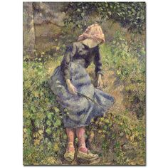 Girl with a Stick, 1881 by Camille Pissarro Painting Print on Canvas