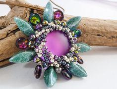 Beaded Flower Pendant  Purple & Green by BeauBellaJewellery #pendant #cabochon #flower #beads #green #amethyst #handmade #etsy #jewelry