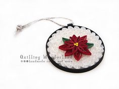 quilling Christmas Ornament Poinsettia Holiday by QuillingWonderland