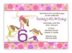 Gymnastics party invite