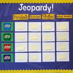 classroom jeopardy, make it an ongoing game on bulletin board.. just keep changing questions and categories!