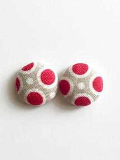 Red spots fabric button earrings small polka dot by Rubenabird