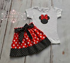This is an adorable Minnie Mouse inspired shirt and skirt set. This outfit is perfect for any Disney Trip, birthday celebration or everyday wear.