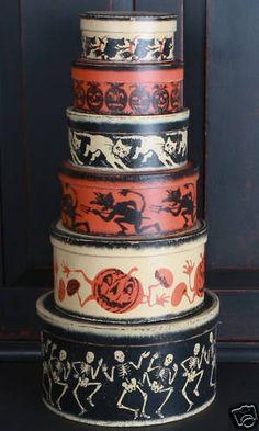 Vintage Halloween Primitive Painted Nesting Boxes 1 SET | eBay