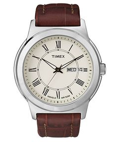 Timex Watch, Men's Brown Croc-Embossed Leather Strap T2E581UM - Men's Watches - Jewelry & Watches - Macy's