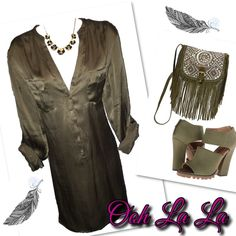 ✨BOGO FREE✨ Olive green Tunic This silky, olive green tunic features convertible sleeves and can be worn as a dress or long top. It is in like new condition and true to size. HP By Annette @nette_61 H&M Tops Tunics