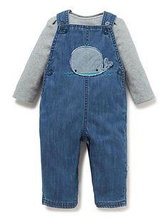 When hes a bit bigger… 2 Piece Pure Cotton Whale Appliqué Dungaree & Bodysuit Outfit | M&S