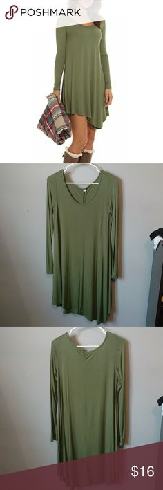Never worn POSESHE long sleeve loose t-shirt dress Never worn! Small, loose-fitting, army green dress. Flowly, goes well with a belt. Soft, 95% cotton. Light enough for spring or fall with leggings. POSESHE Dresses Long Sleeve