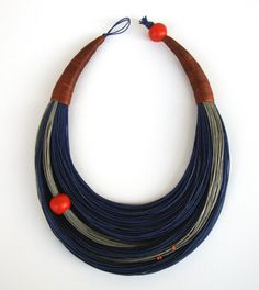 Blue Grey and Cinnamon Statement Necklace by superlittlecute