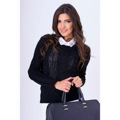 Čierny pletený svetrík dámsky - fashionday.eu Tops, Women, Fashion, Moda, Fashion Styles, Fashion Illustrations, Woman