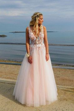 Backless Prom Dresses, Long Pink Prom Dress, Prom Dress with Appliques Deep V-Neck Backless Long Pink Prom Dress with Appliques Beading Homecoming Dresses Long, Prom Outfits, Backless Prom Dresses, A Line Prom Dresses, Wedding Dresses, Short Prom, Long Formal Dresses, Bridesmaid Gowns, Long Prom Dresses Cheap