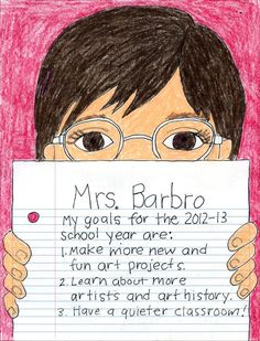 Back to School Portrait. Use my template and have students declare their goals for the year. Art Projects for Kids.