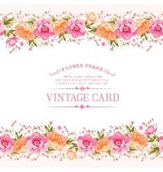 Border of flowers in vintage style vector by Kotkoa on VectorStock®
