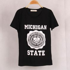 Free Shipping New Women MICHIGAN STATE Printed T shirt Blusas Casual Short Sleeve Plus Size T-shirt Tops Female Women Clothing
