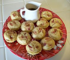 Bacon Pancake bites.  Love the idea, but since I can't get the syrup thinking using maple (great combo with bacon)