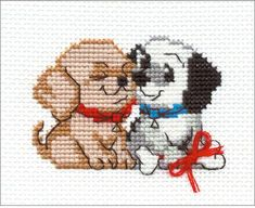 Cross stitch kit featuring a couple of cute puppies. This cross stitch kit contains 10 count Aida Zweigart fabric, Sa Cross Stitch Owl, Small Cross Stitch, Cross Stitch Animals, Counted Cross Stitch Kits, Cross Stitch Designs, Cross Stitch Patterns, Dog Crafts, Dog Pattern, Brick Stitch