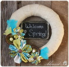 Fun Spring Burlap DIY Wreath | AllFreeHolidayCrafts.com