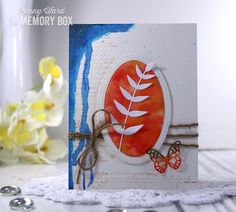 Hey crafty friends....Penny here this afternoon of Blog Blitz Day 2 using more new goodies from Memory Box. You can never go wrong with the Stitched Oval Layers dies, and you are going to absolutely love the new Rylan Butterfly Stem where you actually get four dies for the price of one... SCORE! Shall we make a card