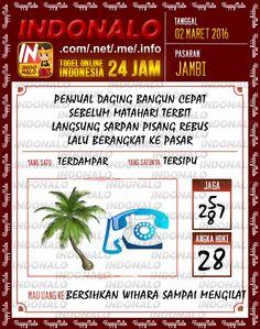 Prediksi Togel Online Live Draw 4D Indonalo Jambi 2 Maret 2016