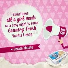 Hey there, ice cream lovers. LIKES up if you agree with Country Fresh fan, Lerato Molele! ^_^  Or LIKE us on Facebook ☛ https://facebook.com/CountryFreshSA