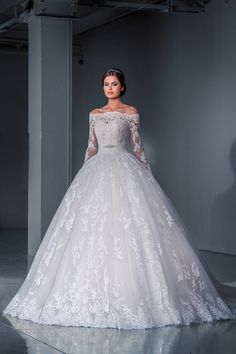 Beautiful lace wedding gown.