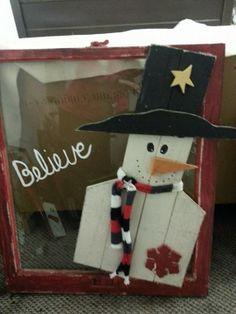 Red distressed Believe snowman window