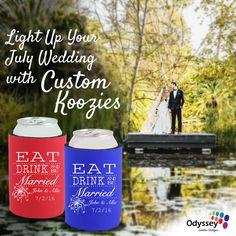 Light Up Your July Wedding Custom Koozies