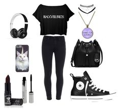 """""""//Land of make believe, and it don't believe in me\\"""" by katt-is-a-unicorn ❤ liked on Polyvore featuring Paige Denim, Converse, MICHAEL Michael Kors, Beats by Dr. Dre, Wet Seal and Manic Panic"""